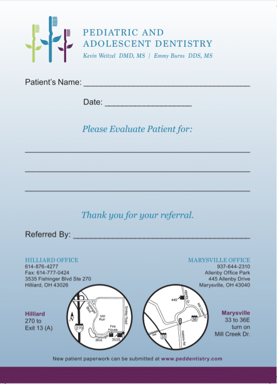 Patient Referral Form – Pediatric Dentistry